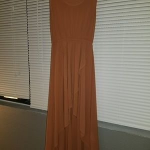 Caramel high low dress